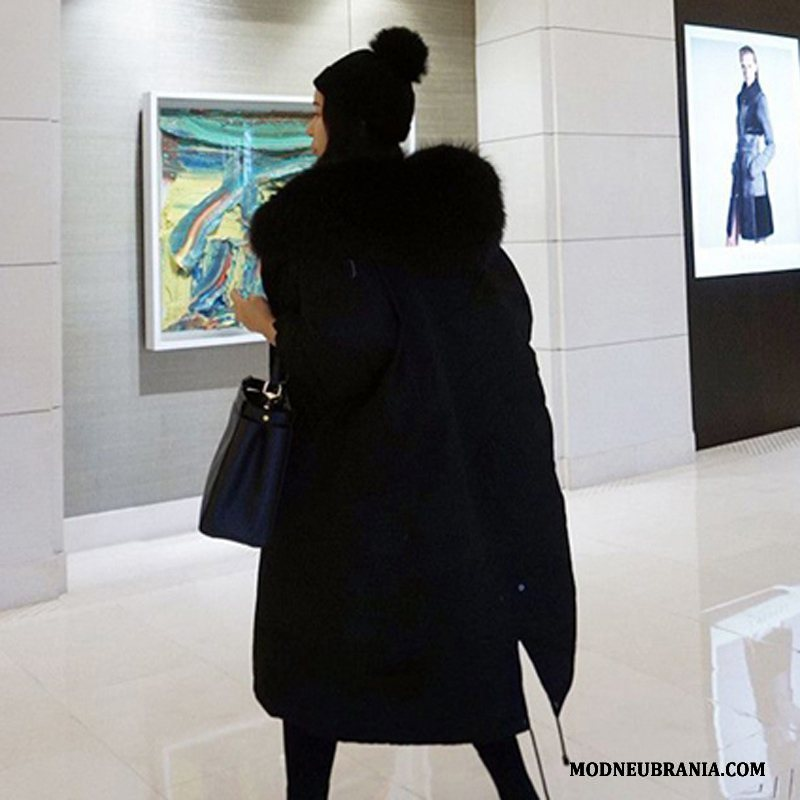 Naisten Puuvilla Takki Musta Pitkä Suuri Turkis Kaulus