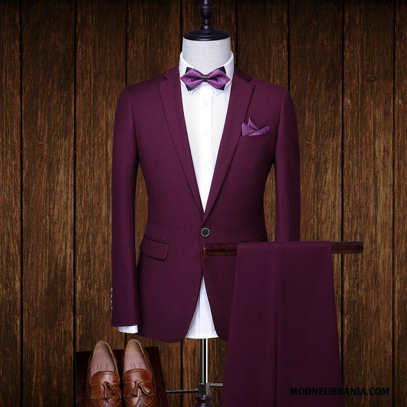 Miesten Puku Business Muodollinen Vaatteet Miehet Liiketoiminta Punainen Syksy